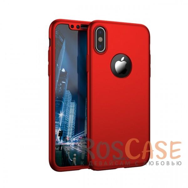 Чехол + закалённое стекло iPaky (original) 360 Full Protection (полная защита корпуса и экрана) для Apple iPhone X (5.8) (+ стекло на экран) (Красный)Описание:производитель - iPaky;совместимость - Apple iPhone X (5.8);материалы - поликарбонат и каленое стекло;форм-фактор - накладка.надежная защита: чехол, бампер, стекло;высокий уровень износостойкости и прочности;ультратонкий дизайн;завышенные бортики вокруг камеры;легко фиксируется;все необходимые вырезы.<br><br>Тип: Чехол<br>Бренд: iPaky<br>Материал: Поликарбонат