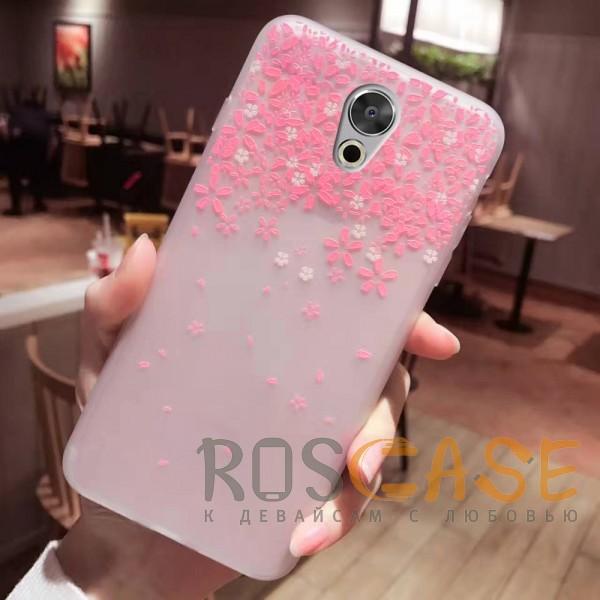 Фото Цветы Розовый Силиконовый матовый чехол с принтом для Meizu Pro 6 Plus