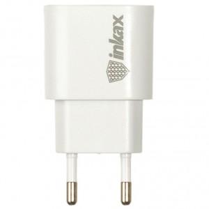 Inkax CD-08   Сетевое зарядное устройство с боковым входом USB (1.0А) + кабель Type-C