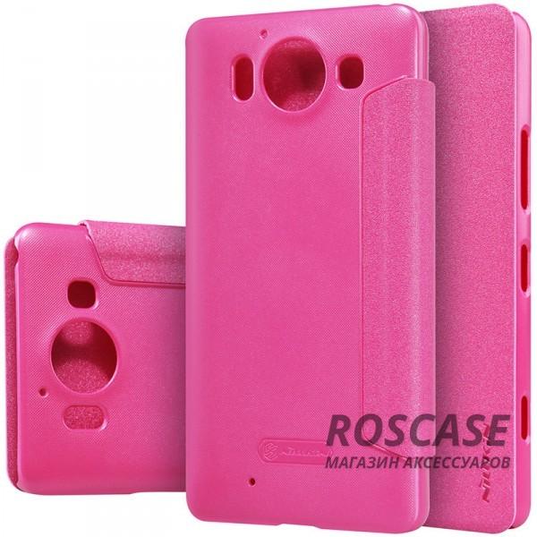 Кожаный чехол (книжка) Nillkin Sparkle Series для Microsoft Lumia 950 (Розовый)Описание:производитель аксессуара: компания Nillkin;материалы: передняя часть - искусственная кожа; задняя часть  -  поликарбонат;совместим с моделью Microsoft&amp;nbsp;Lumia 950;конфигурация: чехол в виде книжки.Особенности:шероховатая поверхность, с эффектом перламутра;максимально тонкий корпус;разъемы для функционала мобильного устройства;возможность говорить при закрытом чехле.<br><br>Тип: Чехол<br>Бренд: Nillkin<br>Материал: Искусственная кожа
