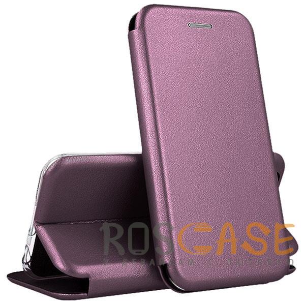 Фото Бордовый Open Color | Кожаный чехол-книжка для Huawei P40 с функцией подставки и магнитом
