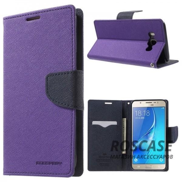 Чехол (книжка) Mercury Fancy Diary series для Samsung J710F Galaxy J7 (2016) (Фиолетовый / Синий)Описание:бренд&amp;nbsp;Mercury;создан для Samsung J710F Galaxy J7 (2016);материалы  -  искусственная кожа, термополиуретан;форма  -  чехол-книжка.&amp;nbsp;Особенности:рельефная поверхность;все функциональные вырезы в наличии;внутренние кармашки;магнитная застежка;защита от механических повреждений;трансформируется в подставку.<br><br>Тип: Чехол<br>Бренд: Mercury<br>Материал: Искусственная кожа
