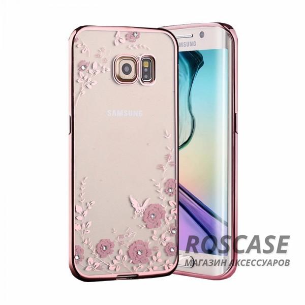 Прозрачный чехол с цветами и стразами для Samsung G925F Galaxy S6 Edge с глянцевым бамперомОписание:совместим с Samsung G925F Galaxy S6 Edge;материал - термополиуретан;тип - накладка.&amp;nbsp;Особенности:прозрачный;изящный рисунок;украшен стразами;защищает от царапин и ударов;не скользит в руках.<br><br>Тип: Чехол<br>Бренд: Epik<br>Материал: TPU