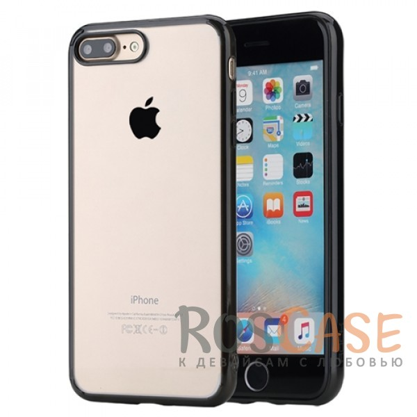 TPU+PC чехол Rock Pure Series для Apple iPhone 7 plus (5.5) (Черный / Transparent black)Описание:изготовлен компанией&amp;nbsp;Rock;совместим с Apple iPhone 7 plus (5.5);материалы  -  термополиуретан, поликарбонат;тип  -  накладка.&amp;nbsp;Особенности:ультратонкий;в наличии все функциональные вырезы;прозрачная;черная окантовка вокруг камеры для отсутствия блика от вспышки;не скользит в руках;рамка из поликарбоната;защита от царапин и ударов.<br><br>Тип: Чехол<br>Бренд: ROCK<br>Материал: TPU