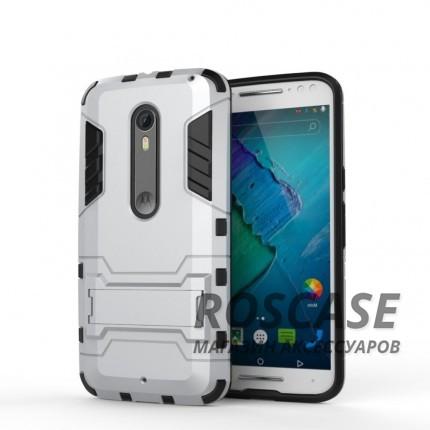 Ударопрочный чехол-подставка Transformer для Motorola Moto X Style (XT1572) с мощной защитой корпуса (Серебряный / Satin Silver)Описание:подходит для Motorola Moto X Style (XT1572);материалы: термополиуретан, поликарбонат;формат: накладка.&amp;nbsp;Особенности:функциональные вырезы;функция подставки;двойная степень защиты;защита от механических повреждений;не скользит в руках.<br><br>Тип: Чехол<br>Бренд: Epik<br>Материал: TPU