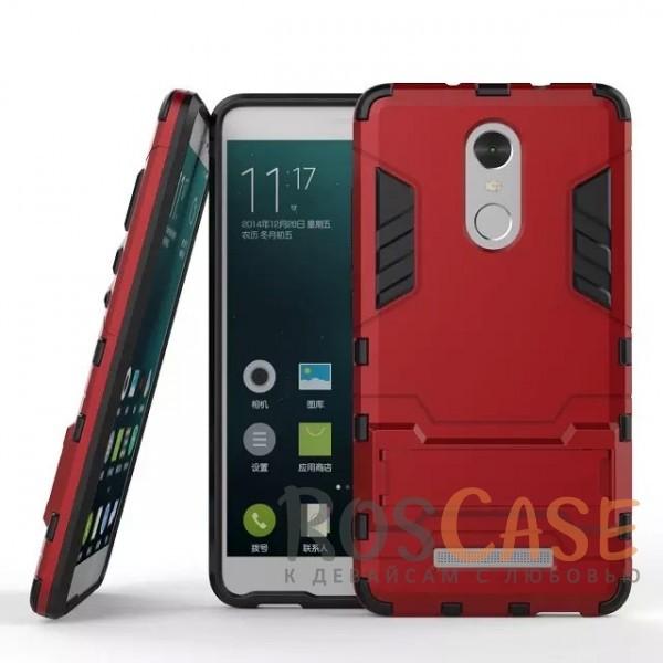 Ударопрочный чехол-подставка Transformer для Xiaomi Redmi Note 3/Note 3 Pro с мощной защитой корпуса (Красный / Dante Red)Описание:материалы  -  поликарбонат, термополиуретан;совместим с Xiaomi Redmi Note 3 / PRO;форм-фактор  -  накладка.Особенности:ударопрочный;антискольжение;легкая фиксация;не деформируется;морозостойкий.<br><br>Тип: Чехол<br>Бренд: Epik<br>Материал: TPU