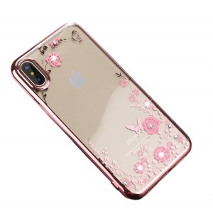 """Прозрачный чехол со стразами для Apple iPhone X (5.8"""")/XS (5.8"""") с глянцевым бампером"""