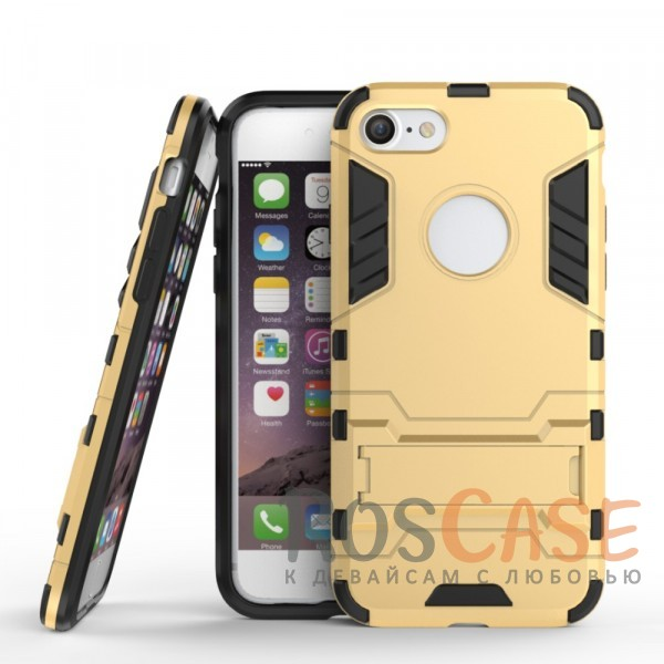 Ударопрочный чехол-подставка Transformer для Apple iPhone 7 (4.7) с мощной защитой корпуса (Золотой / Champagne Gold)Описание:подходит для Apple iPhone 7 (4.7);материалы: термополиуретан, поликарбонат;формат: накладка.&amp;nbsp;Особенности:функциональные вырезы;функция подставки;двойная степень защиты;защита от механических повреждений;не скользит в руках.<br><br>Тип: Чехол<br>Бренд: Epik<br>Материал: TPU