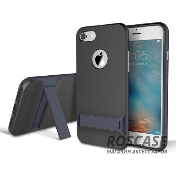 TPU+PC чехол Rock Royce Series с функцией подставки для Apple iPhone 7 plus (5.5) (Синий / Navy Blue)Описание:изготовитель: компания Rock;совместимость: смартфоны Apple iPhone 7 plus (5.5);произведен из термопластичного полиуретана и качественного поликарбоната;тип крепления: накладка;поверхность: частично матовая, частично глянцевая.Особенности:защищает от повреждений при падениях;имеет двойную конструкцию;имеет функцию подставки;позиционируется как аксессуар с интересным нетривиальным дизайном.<br><br>Тип: Чехол<br>Бренд: ROCK<br>Материал: TPU
