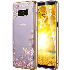 Прозрачный чехол со стразами для Samsung Galaxy Note 8 с глянцевым бампером