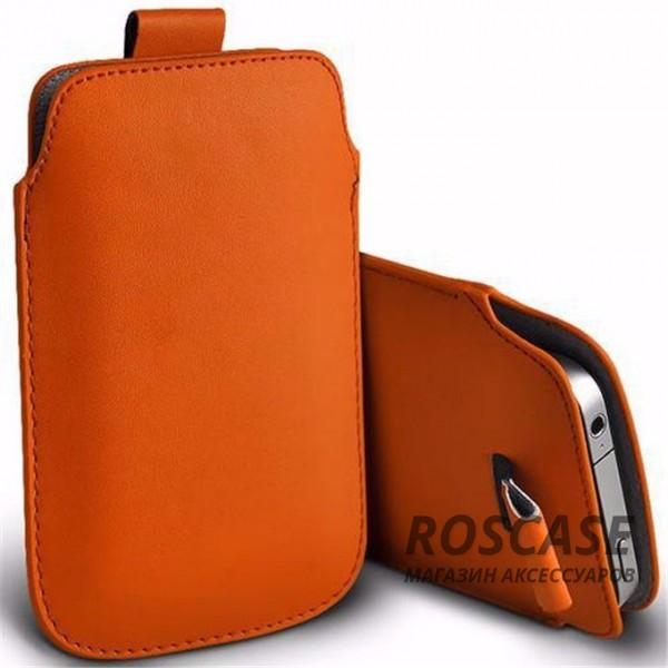 Кожаный чехол (футляр) для смартфона (140 x 75) (Оранжевый)Описание:производитель  -  Epik;совместимость: устройства с габаритами &amp;nbsp;140*75 мм;материал  -  искусственная кожа;форма  -  футляр.&amp;nbsp;Особенности:тонкий дизайн не увеличивает габариты;не скользит в руках;язычок для извлечения устройства;защищает от ударов и царапин;на нем не видны отпечатки пальцев;размер - &amp;nbsp;140 x 75 мм.<br><br>Тип: Чехол<br>Бренд: Epik<br>Материал: Искусственная кожа