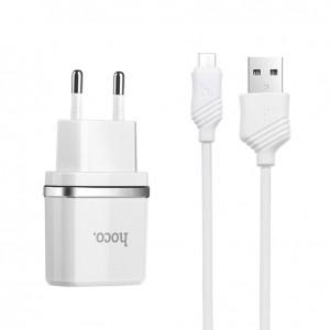 Сетевое зарядное устройство HOCO C11 1USB 1A + кабель Micro USB для Samsung Galaxy J7 2017 (J730)