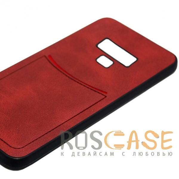 Фото Красный ILEVEL | Чехол с кожаным покрытием и с карманом-визитницей для Samsung Galaxy Note 9