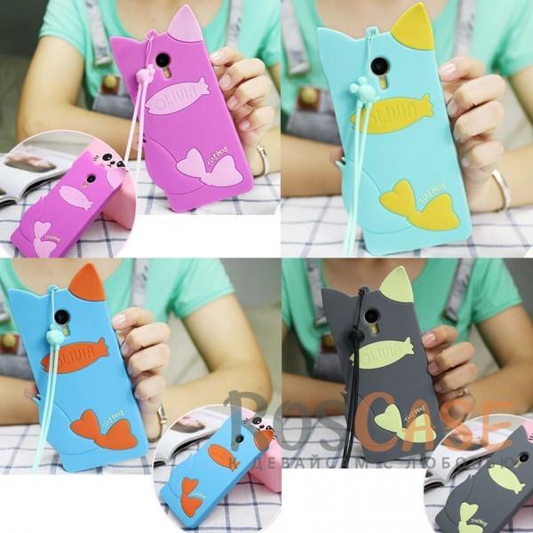 Фото Силиконовый чехол для Meizu M3 Note с кошачьими ушками и шнурком