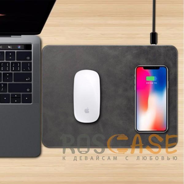 Фотография Черный Коврик с беспроводной зарядкой для мыши и телефона