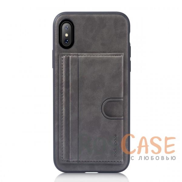 Стильный силиконовый чехол с внешним карманом для визиток для Apple iPhone X (5.8) (Серый / Grey)Описание:бренд -&amp;nbsp;Rock;материалы - термополиуретан, искусственная кожа;совместимость - Apple iPhone X (5.8);формат - накладка;предусмотрен карман для визиток;защищает заднюю панель и боковые грани;функция подставки;не скользит в руках;все необходимые вырезы для полноценного использования устройства.<br><br>Тип: Чехол<br>Бренд: ROCK<br>Материал: Искусственная кожа