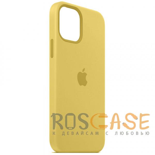 Фотография Желтый Силиконовый чехол Silicone Case с микрофиброй для iPhone 12 Pro Max