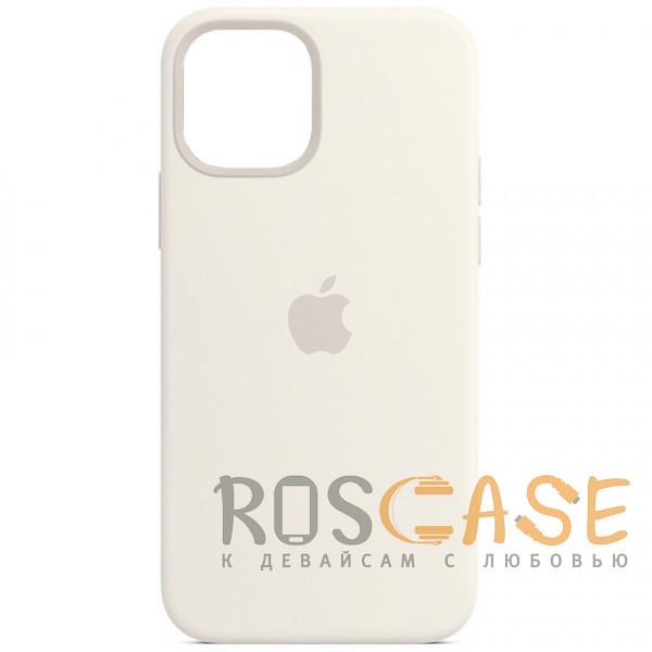 Фото Белый Силиконовый чехол Silicone Case с микрофиброй для iPhone 12 Mini