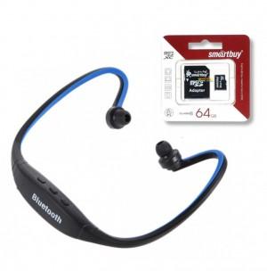 Комплект ZK-S9 | Спортивные беспроводные наушники bluetooth с микрофоном (слот для microSD) + SmartBuy | Карта памяти microSDHC 64 GB Card Class 10 + SD adapter