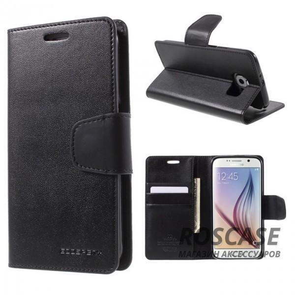 Гладкий кожаный чехол-книжка в виде бумажника Mercury Sonata Diary с функцией подставки и магнитной застежкой для Samsung Galaxy S6 G920F/G920D Duos (Черный)Описание:производитель  -  компания&amp;nbsp;Mercury;совместим с Samsung Galaxy S6 G920F/G920D Duos;материалы  -  искусственная кожа, термополиуретан;форма  -  чехол-книжка.&amp;nbsp;Особенности:гладкая поверхность;предусмотрены все функциональные вырезы;кармашки для визиток/кредитных карт/купюр;магнитная застежка;защита от механических повреждений;трансформируется в подставку.<br><br>Тип: Чехол<br>Бренд: Mercury<br>Материал: Искусственная кожа