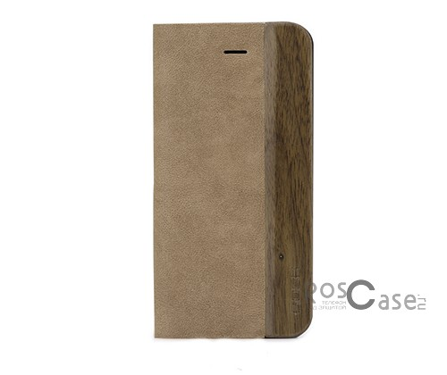 Фотография #Кожаный чехол (книжка) ROCK Woody Series для Apple iPhone 5/5S