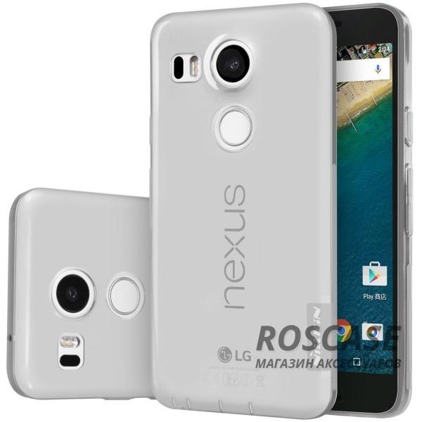 TPU чехол Nillkin Nature Series для LG Google Nexus 5x (Серый / Прозрачный)Описание:производитель  - &amp;nbsp;Nillkin;совместимость: LG Google Nexus 5x;материал  -  термополиуретан;форма  -  накладка.&amp;nbsp;Особенности:в наличии все вырезы;гладкая поверхность;не увеличивает габариты;защита от ударов и царапин;на накладке не видны &amp;laquo;пальчики&amp;raquo;.<br><br>Тип: Чехол<br>Бренд: Nillkin<br>Материал: TPU