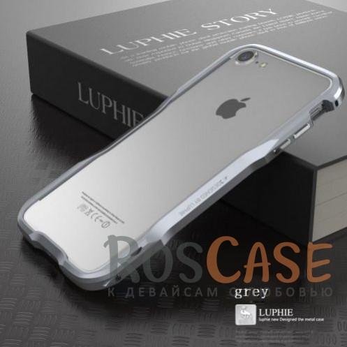 Металлический бампер Luphie Razon для Apple iPhone 7 (4.7) (Серый)Описание:бренд -&amp;nbsp;Luphie;материал - алюминий;совместим с Apple iPhone 7 (4.7);тип - бампер.Особенности:прочный алюминий;в наличии все вырезы;ультратонкий дизайн;защита граней от ударов и царапин;в комплекте отвертка для установки бампера.<br><br>Тип: Чехол<br>Бренд: Luphie<br>Материал: Металл
