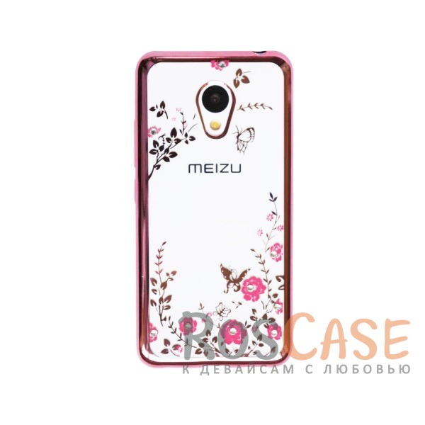 Фото Розовый золотой/Розовые цветы Прозрачный чехол со стразами для Meizu M3 / M3 mini / M3s с глянцевым бампером