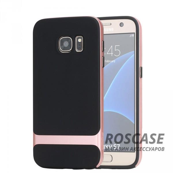 TPU+PC чехол Rock Royce Series для Samsung G930F Galaxy S7 (Черный / Rose Gold)Описание:производитель  -  компания&amp;nbsp;Rock;совместим с Samsung G930F Galaxy S7;материалы  -  полиуретан, поликарбонат;тип  -  накладка.&amp;nbsp;Особенности:тонкий и легкий;окантовка из поликарбоната;в наличии все функциональные вырезы;легкая очистка;хорошее сцепление с поверхностями;защищает от механических повреждений;легкая установка и удаление.<br><br>Тип: Чехол<br>Бренд: ROCK<br>Материал: TPU