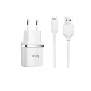 HOCO C12 | Сетевое зарядное устройство 2USB (2.1А) и кабелем Lightning для LG G7+ / LG G7 ThinQ
