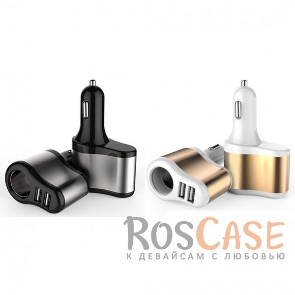 Фото Автомобильное зарядное устройство C2 2 USB 3.1A со сквозным гнездом прикуривателя