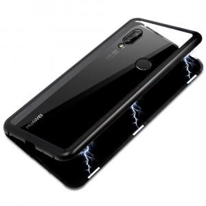 Металлический бампер с задней стеклянной вставкой на магнитной защелке для Huawei P20 Lite