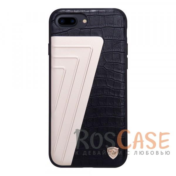 Кожаная накладка Nillkin Hybrid Series для Apple iPhone 7 plus (5.5) (Черный)Описание:произведено брендом&amp;nbsp;Nillkin;совместимость - Apple iPhone 7 plus (5.5);материалы: поликарбонат, термополиуретан, металл, искусственная кожа;тип: накладка.&amp;nbsp;Особенности:оригинальный дизайн;вставка с фактурой крокодиловой кожи;двухцветный стиль;анти-отпечатки;не скользит в руках;защищает заднюю панель и боковые грани.<br><br>Тип: Чехол<br>Бренд: Nillkin<br>Материал: Натуральная кожа
