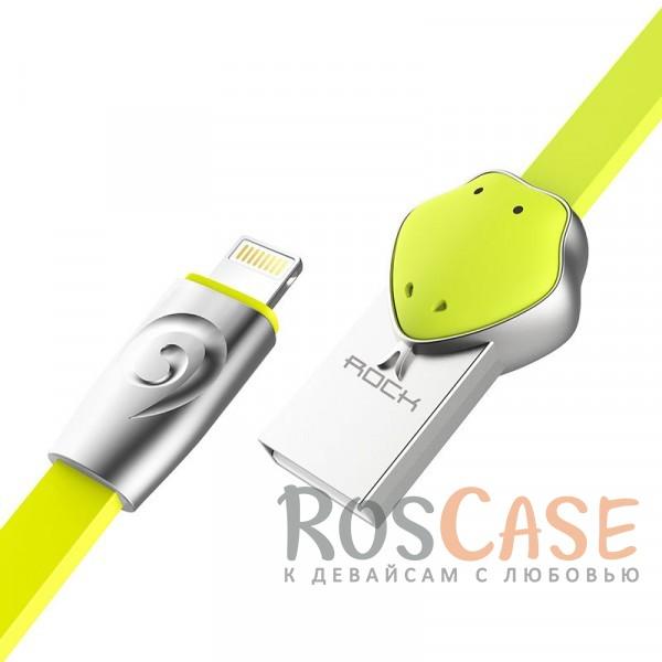 Кабель ROCK Lightning (Chinese Zodiac) для Apple iPhone 5/5s/5c/SE/6/6 Plus/6s/6s Plus /7/7 Plus 1m (Snake-Green)Описание:бренд&amp;nbsp;Rock;материал - TPE (термоэластопласт);совместимость: Apple iPhone 5/5s/5c/SE/6/6 Plus/6s/6s Plus /7/7 Plus:оригинальный дизайн;длина&amp;nbsp;кабеля - 1 м;ток - 5V/2.4 A Max;разъемы&amp;nbsp; - &amp;nbsp;Lightning USB,&amp;nbsp;USB;высокая скорость передачи данных;совмещает три в одном: синхронизация данных, передача данных, зарядка;плоский.<br><br>Тип: USB кабель/адаптер<br>Бренд: ROCK