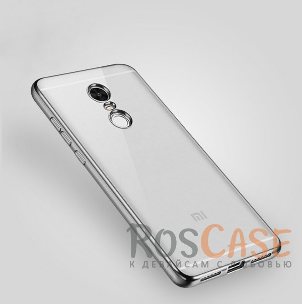 Прозрачный силиконовый чехол для Xiaomi Redmi Note 4X / Redmi Note 4 (SD) с глянцевой окантовкой (Серебряный)