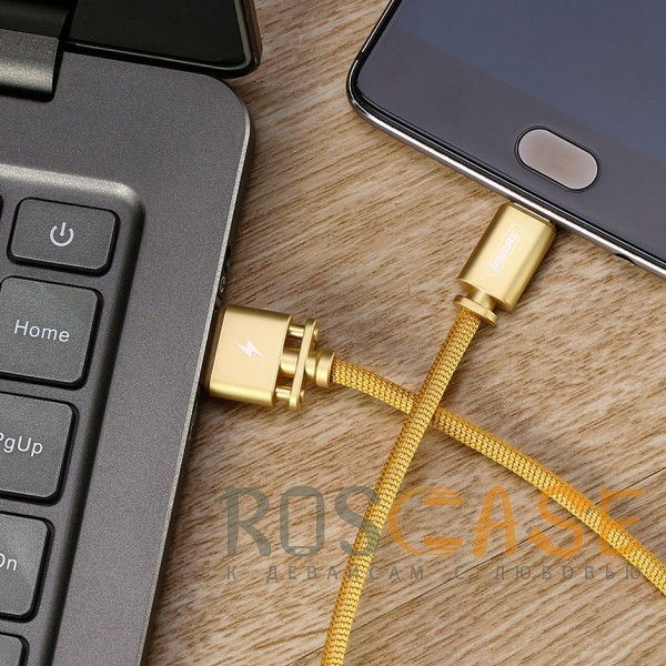 Фотография Золотой Remax Dominator RC-064m | Дата кабель с функцией быстрой зарядки в тканевой оплетке USB to MicroUSB (100см)