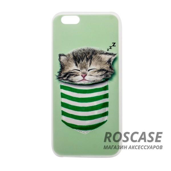 Тонкий силиконовый чехол с принтом Милые котята для Apple iPhone 6/6s (4.7) (Котенок в кармане)Описание:совместимость  -  смартфон Apple iPhone 6/6s (4.7);материал  -  силикон;форм-фактор  -  накладка.Особенности:оригинальный дизайн;высокий уровень прочности и износостойкости;не теряет гибкость и эластичность;не деформируется;не скользит в руках.<br><br>Тип: Чехол<br>Бренд: Epik<br>Материал: TPU