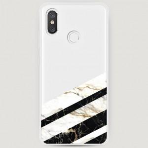 RosCase | Силиконовый чехол Черно-белый мрамор половинка на Xiaomi Mi 8