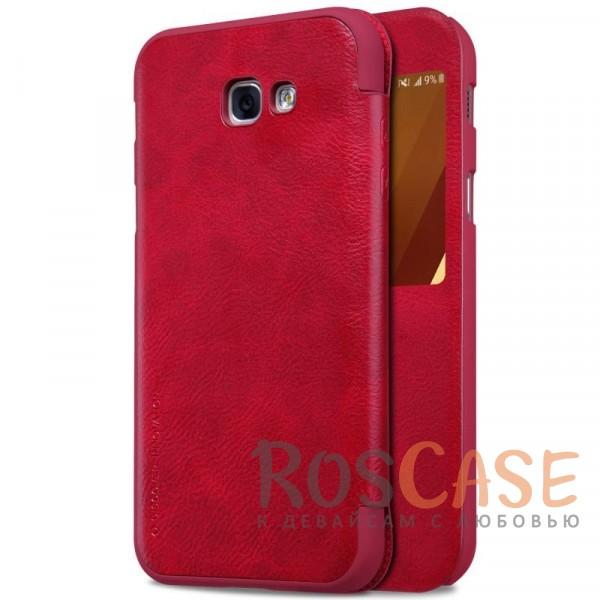 Чехол-книжка Nillkin Qin из натуральной кожи для Samsung A320 Galaxy A3 (2017) (Красный с окошком)Описание:бренд&amp;nbsp;Nillkin;разработан для Samsung A320 Galaxy A3 (2017);материалы: натуральная кожа, поликарбонат;защищает гаджет со всех сторон;на аксессуаре не заметны отпечатки пальцев;предусмотрены все необходимые вырезы;тонкий дизайн не увеличивает габариты девайса;тип: чехол-книжка.<br><br>Тип: Чехол<br>Бренд: Nillkin<br>Материал: Натуральная кожа