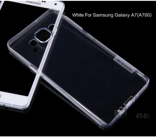 TPU чехол Nillkin Nature Series для Samsung A700H / A700F Galaxy A7 (Бесцветный (прозрачный))Описание:производитель  - &amp;nbsp;Nillkin;совместимость: Samsung A700H / A700F Galaxy A7;материал  -  термополиуретан;форма  -  накладка.&amp;nbsp;Особенности:в наличии все вырезы;матовая поверхность;не увеличивает габариты;защита от ударов и царапин;на накладке не видны &amp;laquo;пальчики&amp;raquo;.<br><br>Тип: Чехол<br>Бренд: Nillkin<br>Материал: TPU