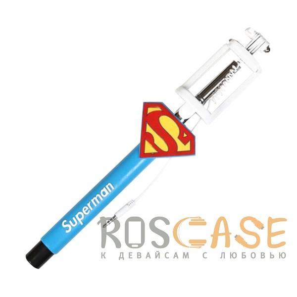 Фото Синий S014 | Телескопический монопод для селфи с лого и прорезиненной ручкой (кабель 3,5 mini jack)