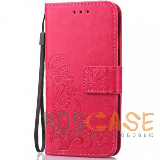 Фото Розовый Кожаный чехол (книжка) Four-leaf Clover с визитницей для Samsung Galaxy A70 (A705F)