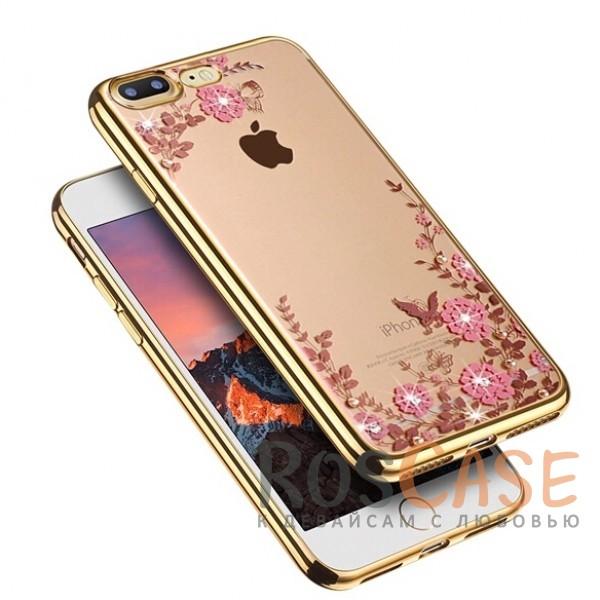 Прозрачный чехол с цветами и стразами для Apple iPhone 7 plus (5.5) с глянцевым бампером (Золотой/Розовые цветы)Описание:совместим с Apple iPhone 7 plus (5.5);материал - термополиуретан;тип - накладка.&amp;nbsp;Особенности:прозрачный;изящный рисунок;украшен стразами;защищает от царапин и ударов;не скользит в руках.<br><br>Тип: Чехол<br>Бренд: Epik<br>Материал: TPU