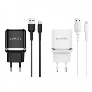 СЗУ быстрая зарядка Borofone BA36A (1USB / 3A) + кабель MicroUSB 1м для LG G7+ / LG G7 ThinQ