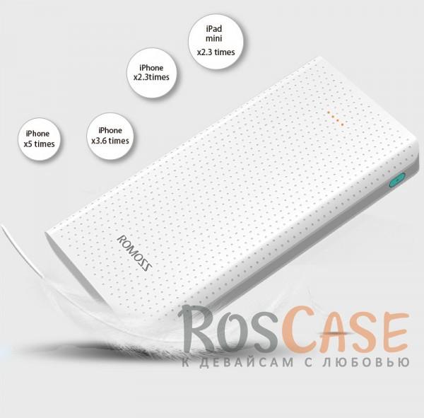 Дополнительный внешний аккумулятор ROMOSS Sense 10 (PHP10) (10000mAh) (Белый)Описание:производитель  - &amp;nbsp;Romoss;совместимость  -  универсальная (смартфон, плеер, планшет и др.);материалы  -  ABS;тип  -  внешний аккумулятор.&amp;nbsp;Особенности:емкость  -  10000 mAh;вход  - &amp;nbsp;DC&amp;nbsp;5V 2.1A, выход -&amp;nbsp;USB1 - DC&amp;nbsp;5V 1A; USB2 - DC5V 2,1A;толщина - 16 мм;вес  -  194 г;на перфорированной поверхности не видны царапины и отпечатки пальцев;2 разъема USB;индикатор заряда батареи;кабель microUSB в комплекте.<br><br>Тип: Внешний аккумулятор<br>Бренд: ROMOSS