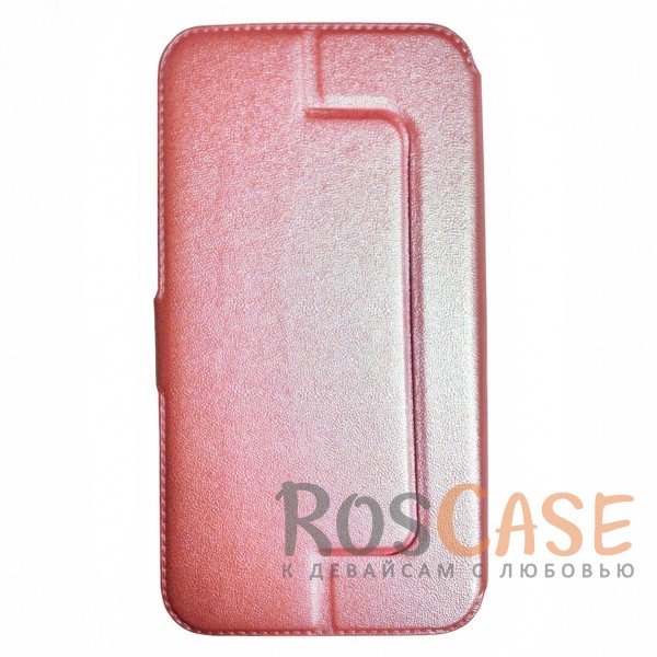 Универсальный чехол-книжка с двумя окошками и магнитной застежкой для смартфона 5.5-6.0 дюймов (Розовый)