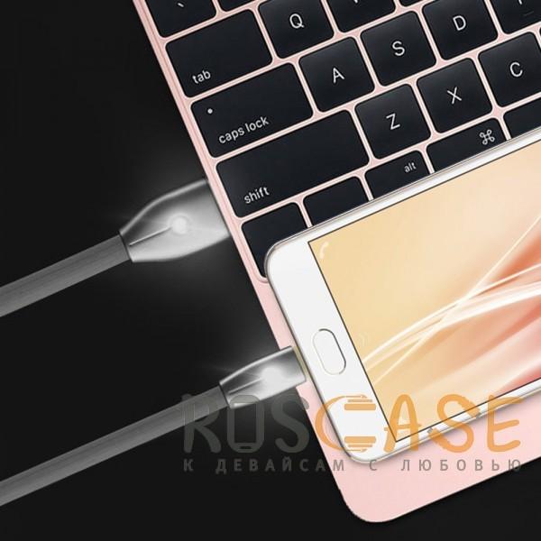 Фотография Черный Remax RC-043m Knight | Дата кабель USB to MicroUSB со световым индикатором (100 см)