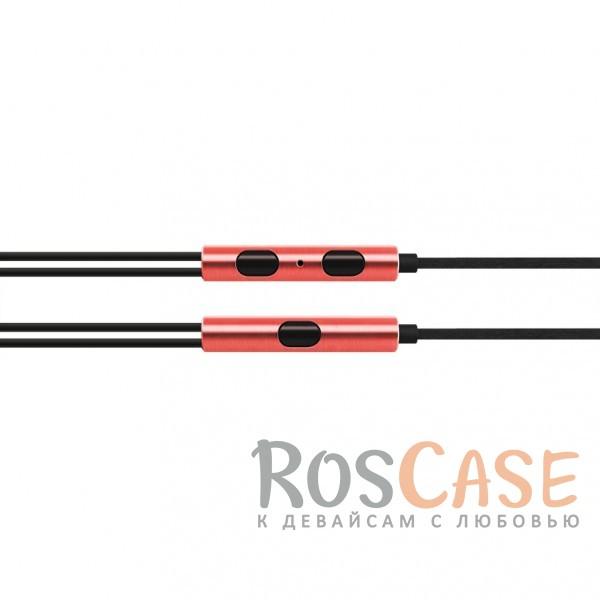 Изображение Красный JX   Металлические наушники с плетеным проводом и пультом