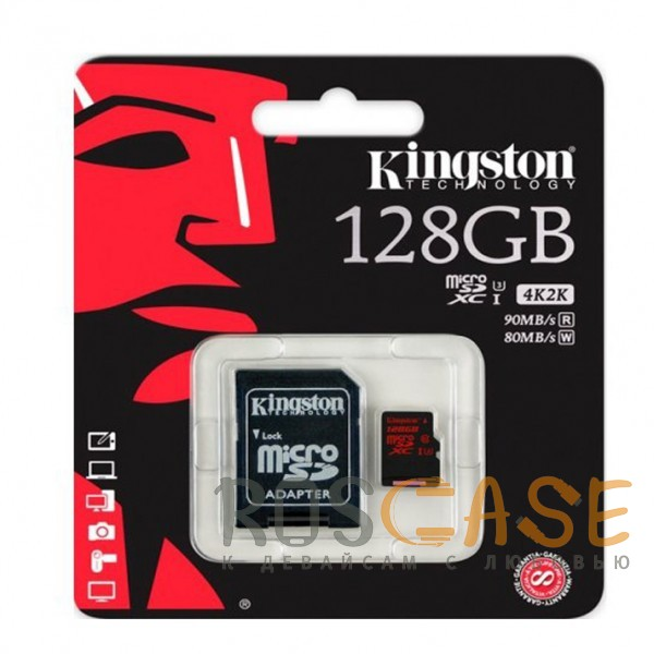 Фото Kingston | Карта памяти microSDXC 128GB Class 10  + SD-адаптер