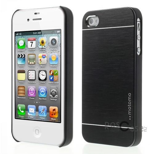Накладка MOTOMO с алюминиевой вставкой для Apple iPhone 4/4S (Черный)Описание:компания-производитель: MOTOMO;совместим с Apple iPhone 4/4S;используемые материалы: поликарбонат, алюминий;форма: накладка.&amp;nbsp;Особенности:ультратонкое исполнение;полный набор функциональных вырезов;высокий уровень защиты;алюминиевая декоративная вставка;плотное прилегание;надежная фиксация.<br><br>Тип: Чехол<br>Бренд: Epik<br>Материал: Металл